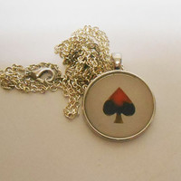 Once Upon A time Fairytale Alice In Wonderland Red Queen Spade necklace