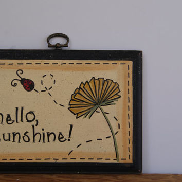 Hello sunshine country decor, Hand painted wood plaque country home decor, Ladybug and dandelion wood sign, Cottage chic home decor