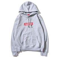Supreme autumn and winter classic embroidered men and women hooded sweater Grey