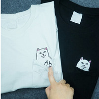 2015 New Hong Kong fashion pocket Harajuku wild cat lovers big yards women wear short sleeved T shirt Casual Funny SHIRT-in T-Shirts from Women's Clothing & Accessories on Aliexpress.com   Alibaba Group