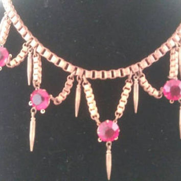 On Sale Coro Signed Statement Necklace - Red Rhinestone Jewelry - 1940's 1950's High End Hard To Find Rare Designer Collectible