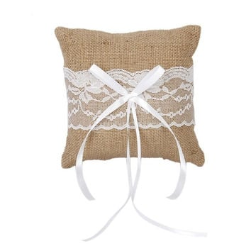 Wedding Pocket Ring Pillow Cushion Bearer Burlap Lace Rustic Style 15 x 15cm = 1933170884