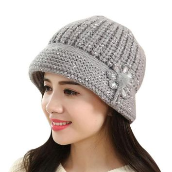 VONESC6 Winter Beanies Knitted Hats Cap Snapback Ladies Female Fashion Skullies Flowers Elegant Women Hats Casquette De Marque #OR1