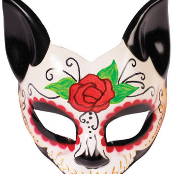 Day Of The Dead Cat Half Mask W-arm Eyeglass Arm