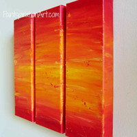 Triptych Abstract Painting Canvas Art Red Orange Yellow - Original Abstract Acrylic Painting - Southwestern Decor Colorful Wall Art