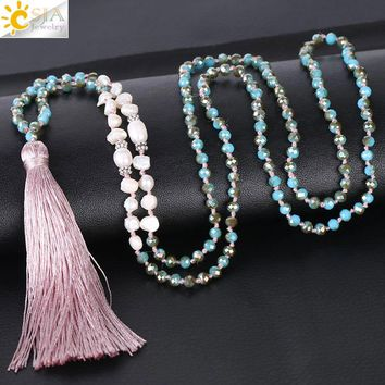 CSJA Pink Silk Tassel Necklace Mother Pearl Blue Glass Beads Knotted 4mm Rondelle Faceted Crystals for Women Punk Jewelry S053