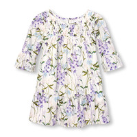 Toddler Girls Long Bell Sleeve Smocked Floral Print Woven Dress | The Children's Place