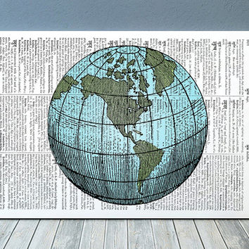 Globe art World map print Antique print Vintage poster RTA918