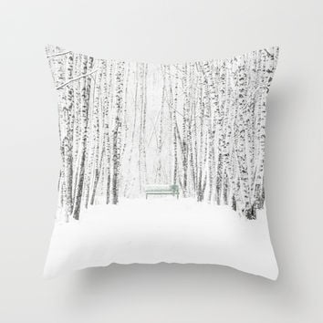 White Winter Day Throw Pillow by Digital2real