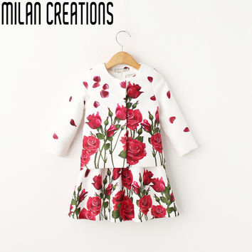 New fashion children's clothing sets high quality girls sets vintage print tops+skirts kids designer suits girl 100-140cm