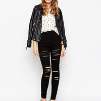 ASOS Rivington Jeggings In Black With Extreme Front And Back Rips
