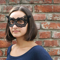 Cat ears black lace mask, Halloween mask, tatted mask, black mask, Venetian mask, masquerade mask, tatting lace mask.