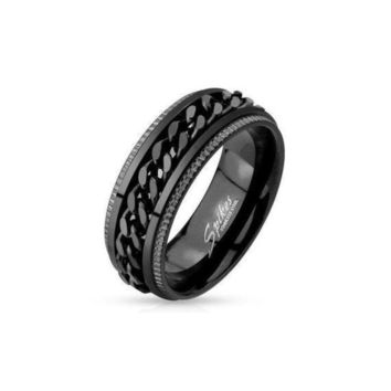 Men's Chain Spinner Ring in Ion Plated Stainless Steel by Spikes