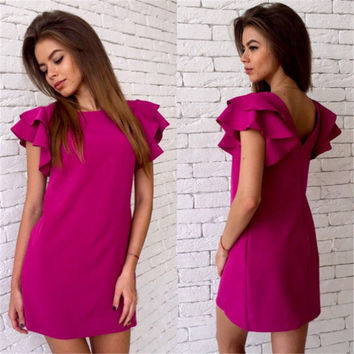 New Arrival 2016 Women Summer Style Dress Casual Butterfly Sleeve Sexy Backless Dress Vestidos