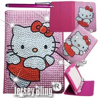 "Jersey Bling® BLING Universal Kindle Fire 7"" HD 1st & 2ND GEN, HDX, NON-HD, Crystal and Rhinestone Faux Leather Case with Built-In Stand, FREE Stylus (Kitty PINK Angel)"