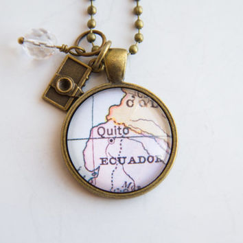 Map of Quito Ecuador - Pendant Necklace - Custom Jewelry - Travel Necklace Missions Adoption Jewelry South America