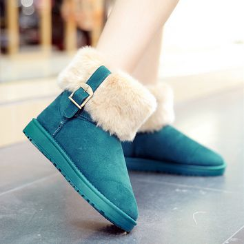Women Ladies Winter Warm Flat Snow Buckle Ankle Boots