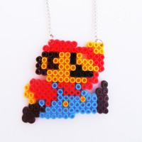 Super Mario Bros Fuse Beads Necklace Pendant Handmade Jewelry