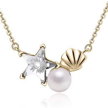 YAN & LEI Sterling Silver Swarovski Crystal Stars and Shell with 6 MM Freshwater Cultured Pearl Pendant Necklace