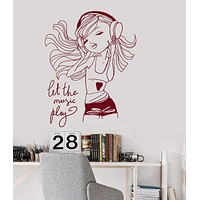 Wall Vinyl Decal Teen Girl Music Headphones Room Decoration Art Stickers Unique Gift (ig3121)