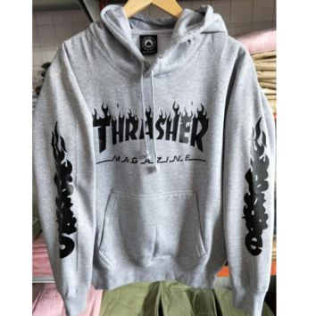 """THRASHER"" letters print long sleeve warm Hooded pullover sweater tops"