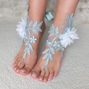 Blue lace barefoot sandals wedding barefoot something blue lace sandals Beach wedding barefoot sandals Wedding sandals Bridal Gift