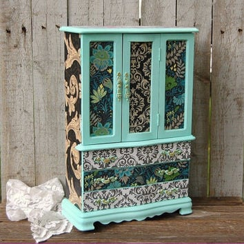 Shabby Chic Jewelry Box, Armoire, Mint Green, Blue, Decoupage, Damask, Upcycled, Hand Painted, Large Jewelry Box