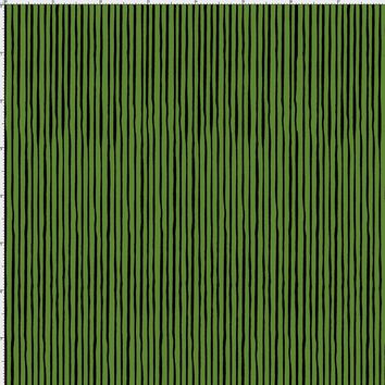 Quirky Pin Stripe Forest Green / Black Fabric
