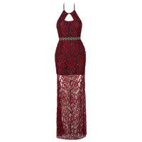 2016 Halter Backless Burgundy Lace See Through Cheap Mermaid Evening Dresses Long Party Prom Gowns Robe De Soiree Vestidos GG64