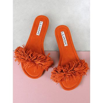 Faux Suede Fringe Sandals ORANGE