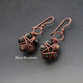 Wiccan Jasper Pentacle Earrings Copper Wire Dainty Small Subtle Spiritual Pagan Nature Earth Stability Comfort Safety Protection