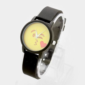 Blowing A Kiss Emoji _ Silicone Strap Watch