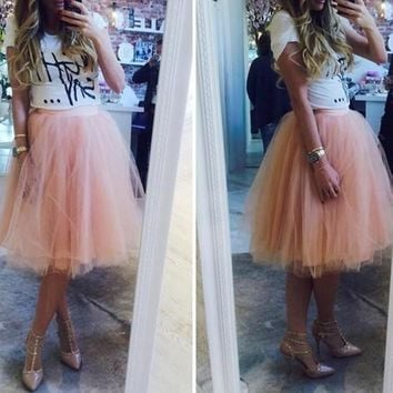 Pink Plain Draped Grenadine Puffy Tulle High Waisted Plus Size Knee Length Adorable Tutu Skirt