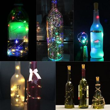 2M Copper Wire Fairy String Lights 15LEDs Battery Operated Wine Bottle Cork Shaped Lights Christmas Decoration for Home