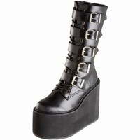 "Demonia Black PU 5.5"" Goth Punk 5 Buckle Platform Calf High Boot SWING-220/B/PU"