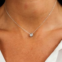 SUSPENDED SOLITAIRE NECKLACE - Christine Elizabeth Jewelry