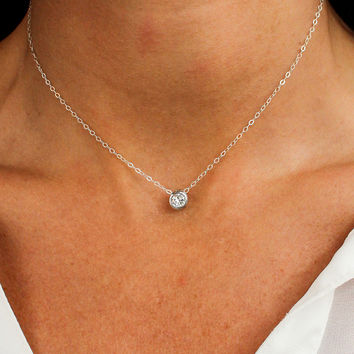 Minimalist Suspended Solitiare Necklace - Christine Elizabeth Jewelry
