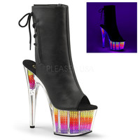 Faux Leather Stripper Ankle Boot With Neon Platform