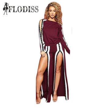 2018 Autumn Side Button Rivet High Split Sexy Two Piece Set Women Fashion Casual Pullover Top and Pants Sweatsuit Lady Suit
