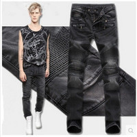 Men Ruffle Slim Pants Jeans [6528377219]