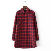 Plus Size Women's Fashion Slim Cotton Plaid Shirt [8542274823]