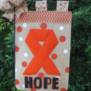 Cancer Awareness Garden Flag Kidney Cancer Awareness Orange Ribbon Awareness Flag