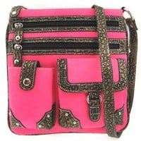 Versatile Croco Trim Cross Body Hipster Purse Messenger Bag (Hot Pink)
