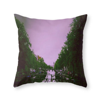 Society6 Amsterdam Purple Throw Pillow