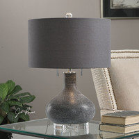 Uttermost Canelo Distressed Black Glass Lamp