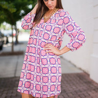 Moroccan You Feel The Love Dress, Pink-Blue