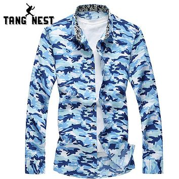 Men Long-sleeved Shirt Fashion Camouflage Single Chemise Home Casual Turn-down Collar Men Shirts