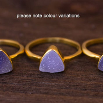 BOXING DAY SALE Gold Purple Mauve Druzy Trillion Cut Ring - Triangle Ring - Stacking Ring