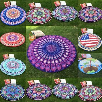 ESBU3C New Round Indian Mandala Hippie Boho Tapestry Wall Hanging Tapestries Shawl Beach Throw Towel Yoga Mat Tablecloth Home Decor