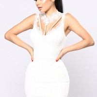 Without A Doubt Lace Dress - White